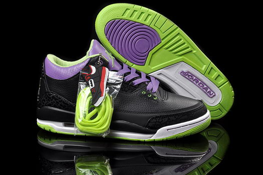 Air Jordan 3 Shoes Black/Deep purple/Green